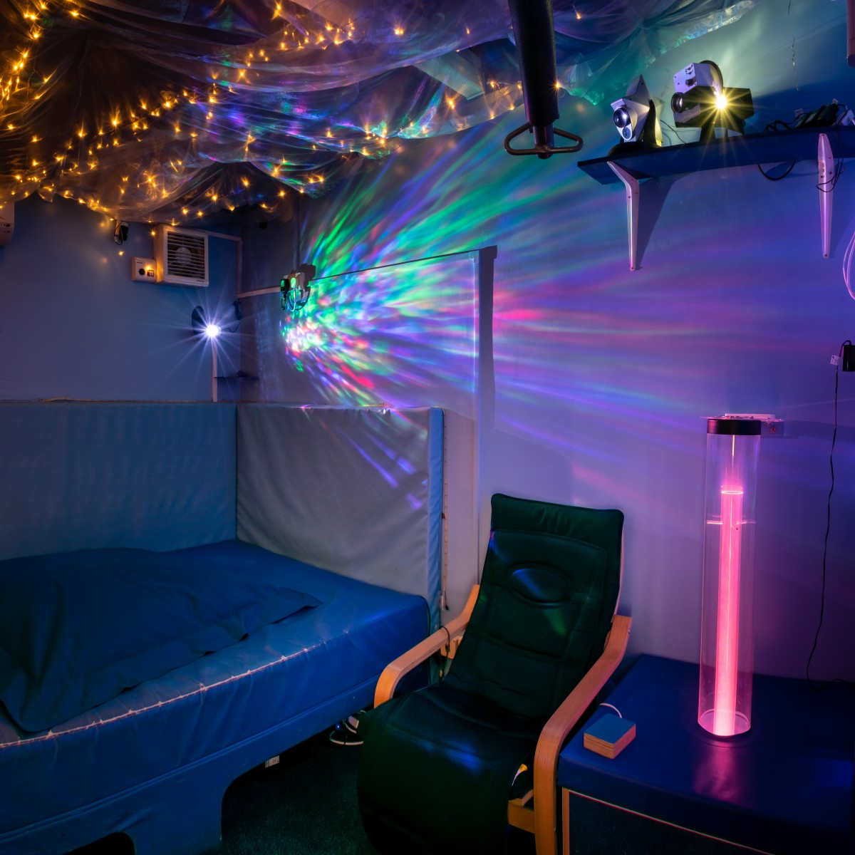Sensory room with colourful lights